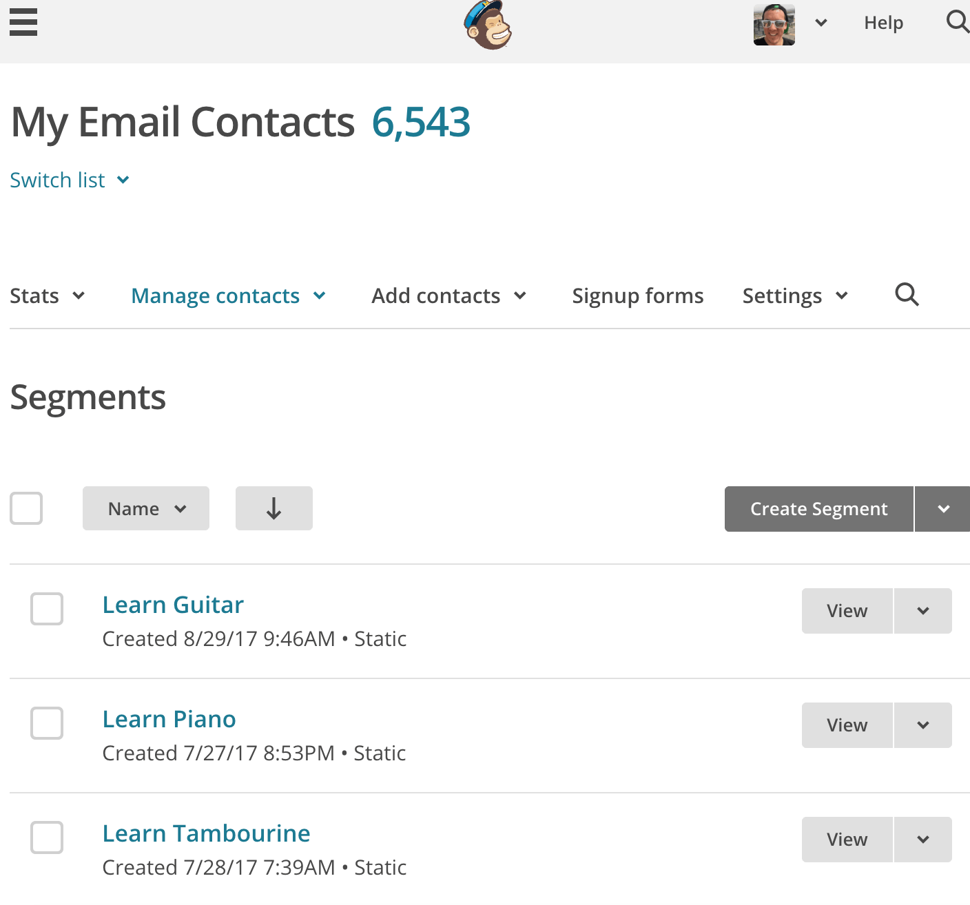 mailchimp how to add to segment